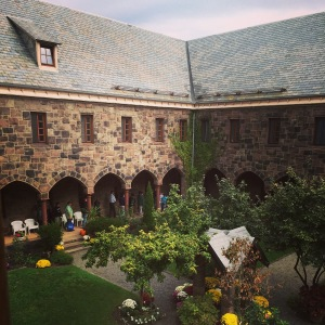 The courtyard at the Newark Friary