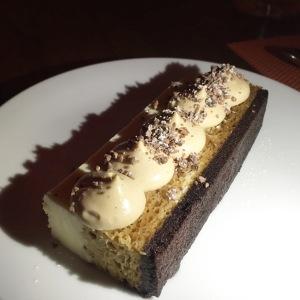 Tiramisu (espresso soaked ladyfinger, mascarpone mousse, coffee crema, cocoa nib)