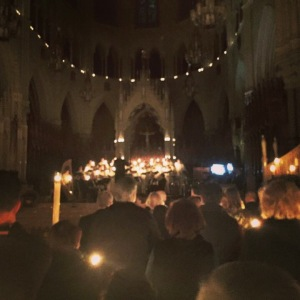 "Candlelit Cathedral during ""Silent Night"""