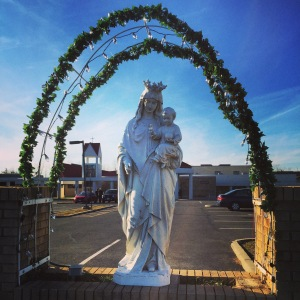 Statue of the Blessed Virgin Mary at Mary, Mother of God Church in Hillsborough, NJ.