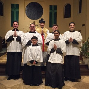 Father Charez with the Altar Servers after the Votive Mass of the Sacred Heart of Jesus