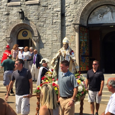 San Mauro Abate leaving Our Lady of Grace R.C. Church to commence the procession in his honor.