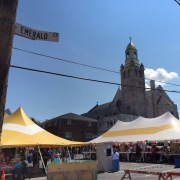 Tents set up behind the church for the feast.