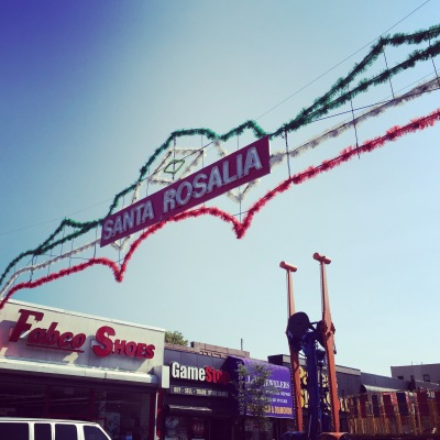 The Annual Feast of Santa Rosalia is held on 18th Avenue between 68th Street and Bay Ridge Parkway in the Bensonhurst neighborhood of Brooklyn
