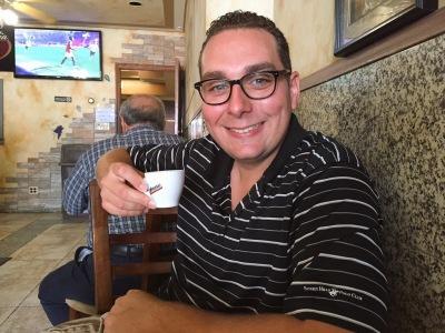 Enjoying an espresso