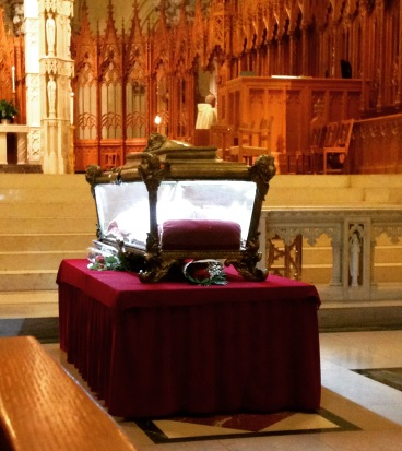 The golden reliquary contains the remains of Saint Maria Goretti
