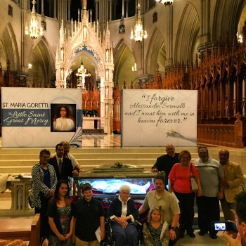The family of Saint Maria Goretti after Holy Mass around their aunt's Major Relics at the Cathedral Basilica of the Sacred Heart in Newark. The woman in the center is the daughter of Saint Maria's oldest brother. When the family was split after Saint Maria's death, her brothers were sent to America.