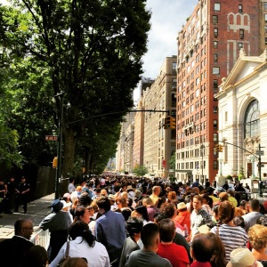 Waiting in line to see Pope Francis at Central Park.