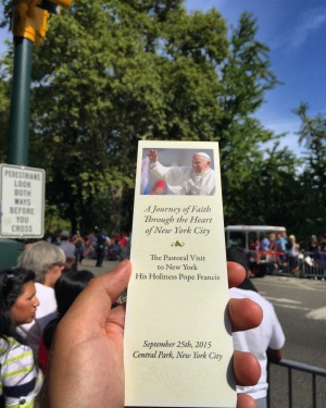 Pope Francis in Central Park bookmark