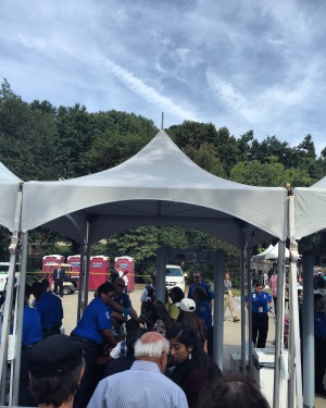Going through the security checkpoint before being allowed into Central Park to see Pope Francis' Papal Procession.
