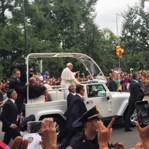 Pope Francis blessing the throngs of people