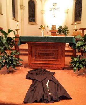 Empty Franciscan Habit represents St. Francis of Assisi