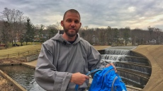 Filming a short Lenten video with Brother Simon with his 206 Tours backpack at the Watchung Circle Waterfall in Watchung, NJ.